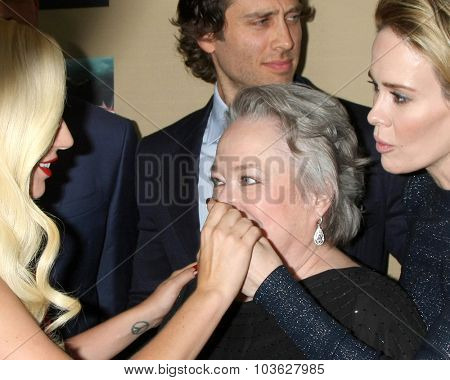 LOS ANGELES - OCT 3:  Lady Gaga, Kathy Bates, Sarah Paulson at the