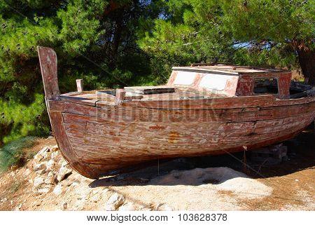 Old Fishing Boat On A Rocky Shore, Croatia
