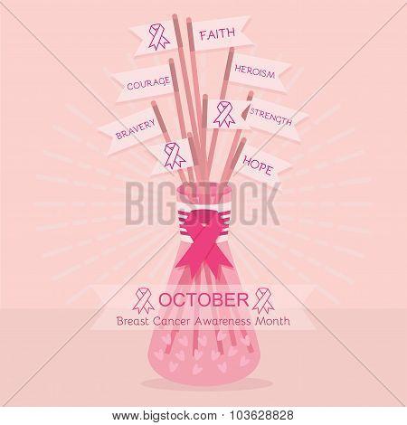 Breast Cancer Awareness pink flag ribbons sticks in a vase jar poster