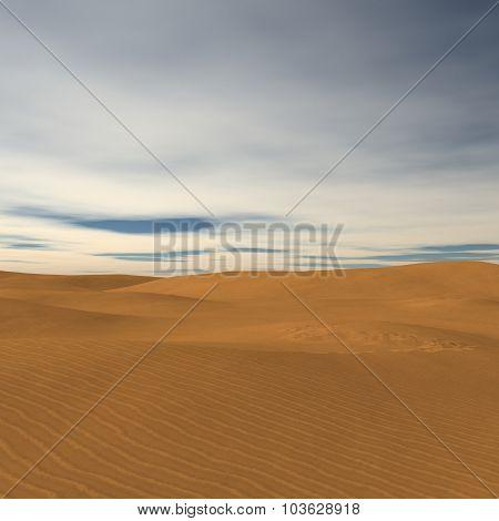 Dark yellow sand dunes and no high hills