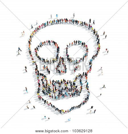 people  form  skull cartoon