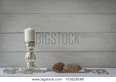 candle, cones and beads