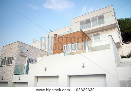 Modern Architecture Exterior Detail, White And Clean