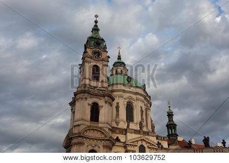 Saint Nicholas' Church at Mala Strana designed by Baroque architect Christoph Dientzenhofer in Prague, Czech Republic.