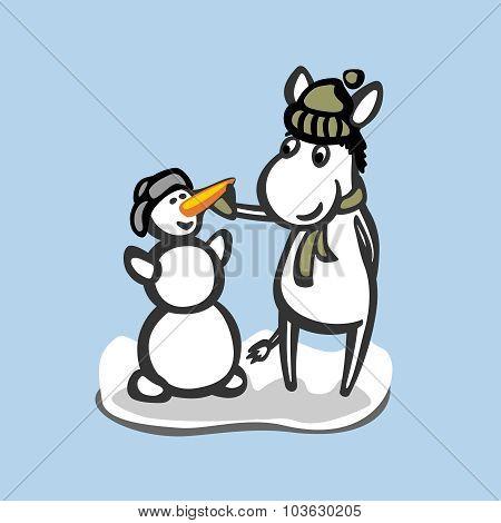 Fun Donkey With Snowman. Winter Season Illustration.