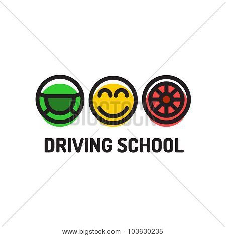 Driving School Logo Template. Symbols Of Driving Wheel, Smiling Face And Wheel.