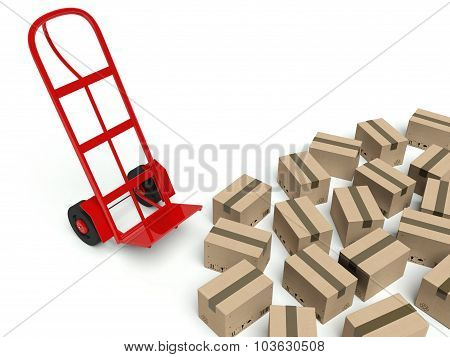 Warehouse Empty Hand Truck And Many Cardboard Boxes