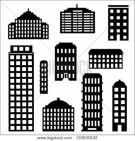 Urban building silhouette set