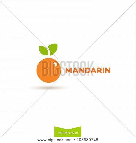 logos mandarin orange flat design vector illustration icon