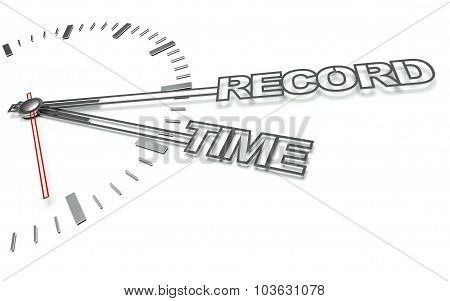 Clock With Words Record Time, Concept Of Success