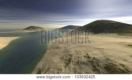 three hills strewn with sand and surrounded by water
