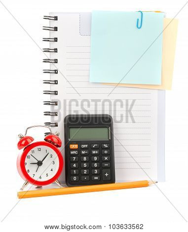 Copybook with stickers and pencil