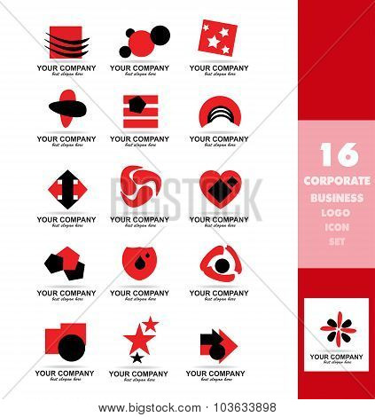 Corporate Business Red Logo Icon Set