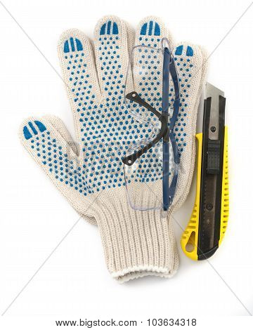 Protective glasses with gloves