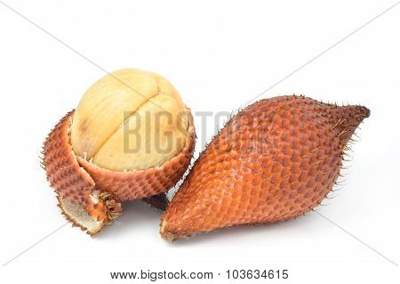 Salak Fruit, Salacca Zalacca Isolated On The White Background.