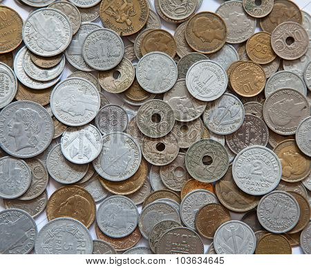 Huge pile of the french coins