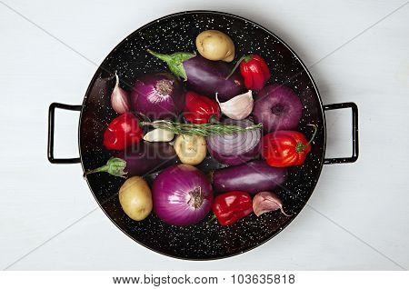 Vegetables In Wok Plate