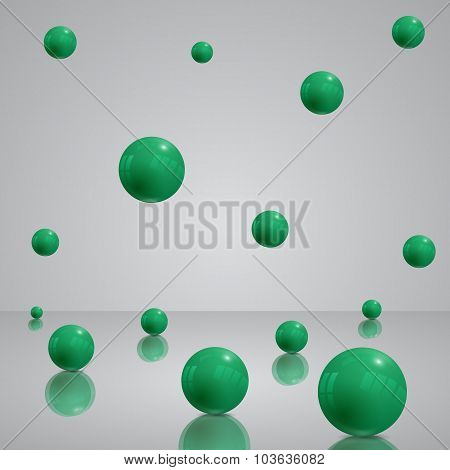 Abstract 3D Background With Green Balls, Eps 10 Vector Design.