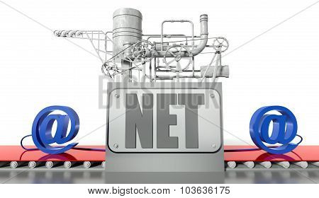 Internet Concept With E-mail Signs And Machine