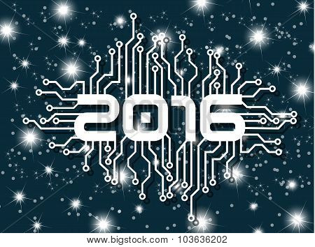 2016 Happy New Year Circuit With Stars Blue