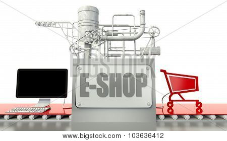 E-commerce Concept, Carts And Machine