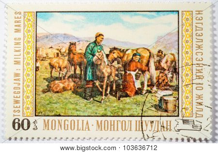 Moscow, Russia - October 3, 2015: A Stamp Printed In Mongolia Shows