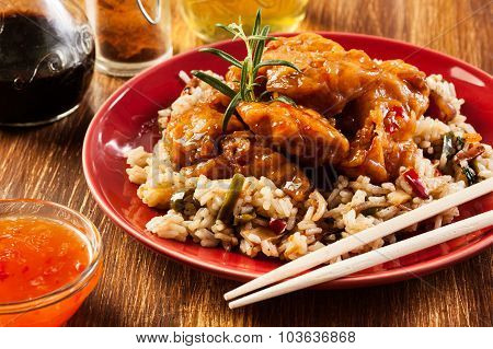 Fried Chicken With Rice And Sweet And Sour Sauce