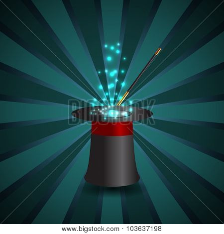 Magic Show Background With Realistic Magician Hat Stick And Fireworks Vector Illustration Eps 10