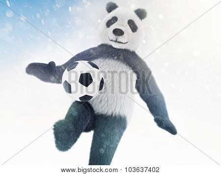 Character Is Covered In Fur On A Blue Background With Bokeh Effect And Chasing The Ball. Panda Footb