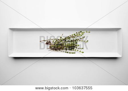 Marjoram Isolated On A White Dish