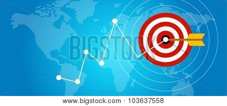 achieving target strategy improvement concept growth market arrow goals