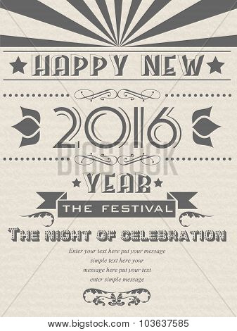 2016 Happy New Year Flayer Vintage Retro Poster