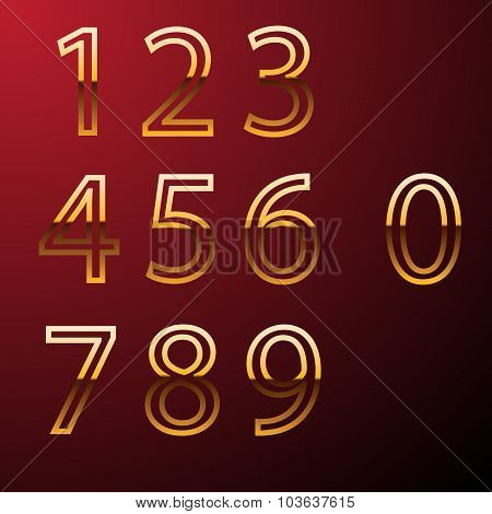 Set Of Gold Metal Vector Numbers, From 1 To 0. Eps 10 Vector