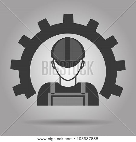 Worker Icon With Gear Vector Eps 10
