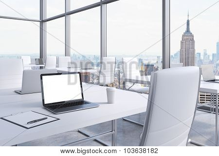 Workplaces In A Modern Corner Panoramic Office In Manhattan, New York City. White Tables And White C