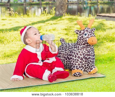 Snap Shot Photography,  Asian Baby Boy In Santa Claus Suit