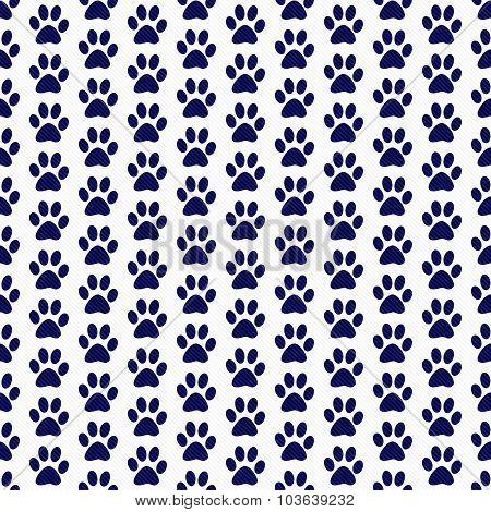 Navy Blue And White Dog Paw Prints Tile Pattern Repeat Background