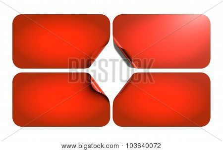 Set Of Blank Labels, Rounded Corners