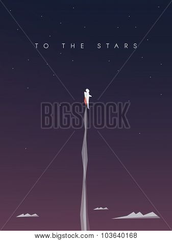 Career development vector background. Business wallpaper with astronaut flying to space
