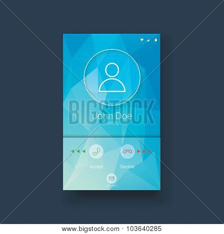 Mobile ui template with calling screen on blue low poly background. White line icons for smartphone