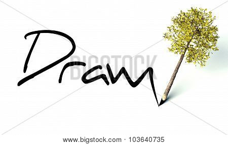 Drawn Concept, Ecology Wooden Pencil Tree