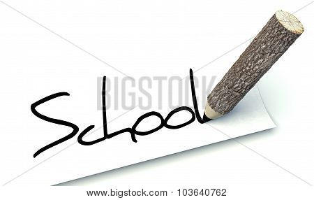 School Concept, Ecology Wooden Pencil Tree Trunk