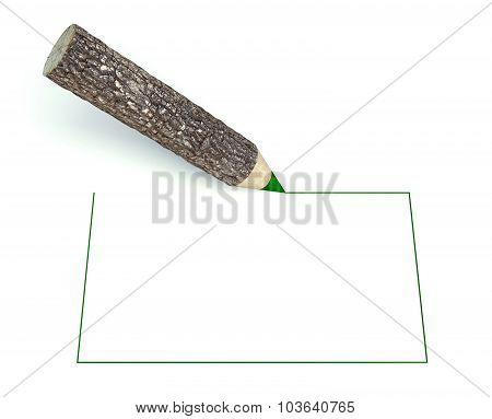 Wooden Pencils With Tree Trunk, Blank Frame Background