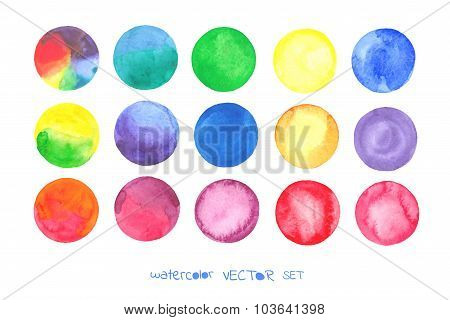 Watercolor vector circles set. Art set.