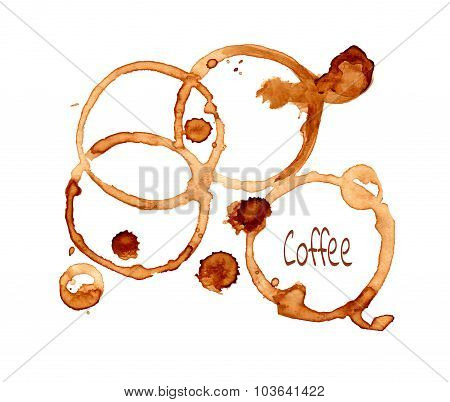 Coffee vector stain on a white background