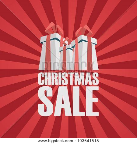 Christmas sale poster template. Holiday sales banner with xmas presents. Red background and space fo