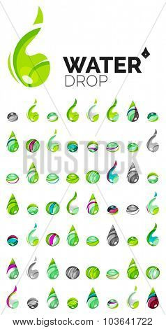 Large set of abstract eco water icons, business logotype nature green concepts, clean modern geometric design. Created with transparent abstract wave lines