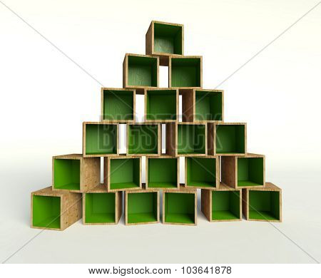 Open Wooden Boxes Forming Triangle Or Christmas Tree