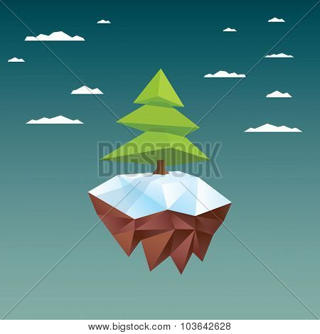 Christmas card template with xmas tree on floating island. Low poly holiday background in 3d.