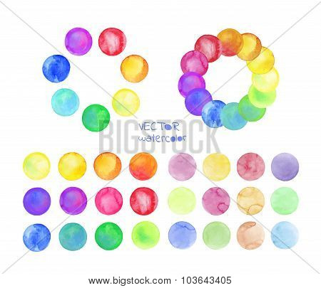 Set of rainbow watercolor vector circles.
